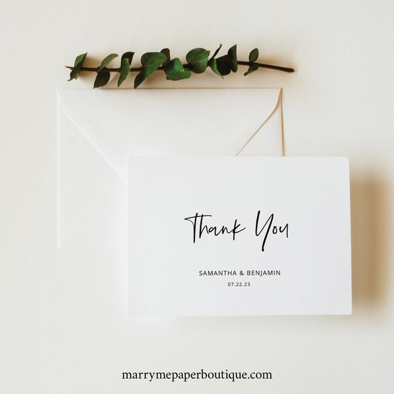 Minimalist Thank You Card Template, Modern Calligraphy, Wedding Thank You, Folded, Printable, Editable, Templett INSTANT Download