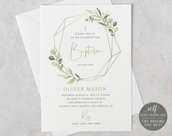 Baptism Invitation Template, Editable Printable Instant Download, Greenery & Gold