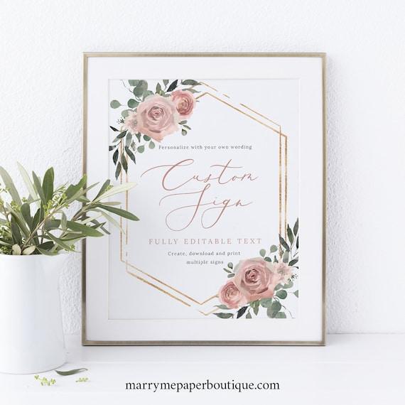 Wedding Sign Bundle Template Set, Dusky Pink Floral, Printable Wedding Sign Template, Templett INSTANT Download, Editable