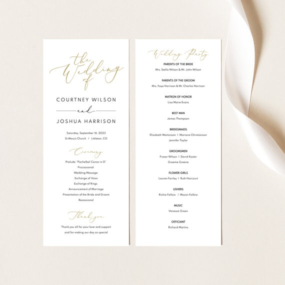 Wedding Ceremony Program Template, Elegant Script Gold, Wedding Program Printable, Editable, Templett INSTANT Download