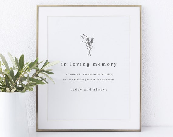 In Loving Memory Sign Printable, Modern Rustic, Wedding Sign, INSTANT Download, Non-Editable