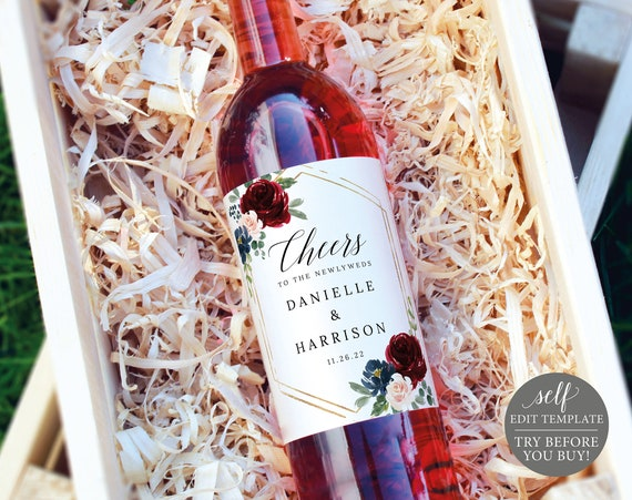 Wine Bottle Label Template, Demo Available, Editable & Printable Instant Download, Burgundy Navy