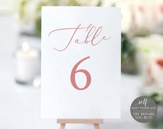 Table Number Template, Rose Gold Script,  Editable Instant Download, TRY BEFORE You BUY