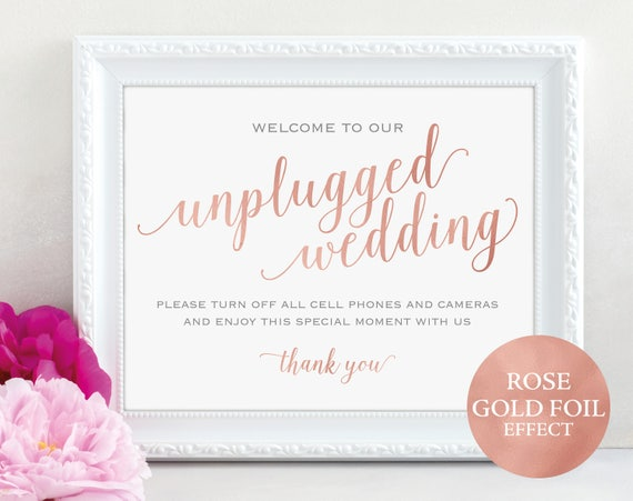 Rose Gold Unplugged Wedding Sign, Turn off Phones, Wedding Sign, Wedding Printable, Unplugged Sign, PDF Instant Download, MM01-7