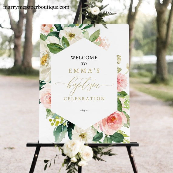 Floral Baptism Welcome Sign Template, Blush & White Flowers, Editable Baptism Sign, Printable, Templett, INSTANT Download