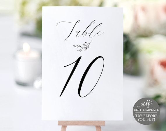 Table Number Sign Template, Delicate Script, FREE Demo Available, Editable Instant Download