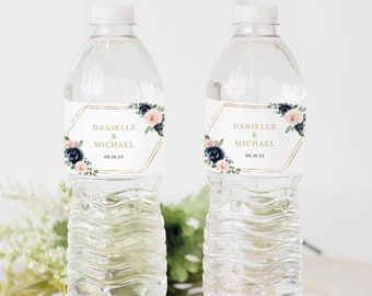 Wedding Water Bottle Label Template, Navy & Blush Floral, Mineral Water Label Printable, Templett INSTANT Download, Editable