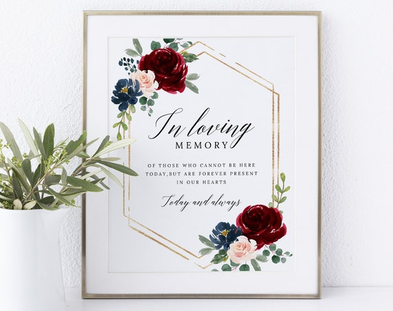 In Loving Memory Sign Template, Non-Editable Instant Download, Burgundy Navy
