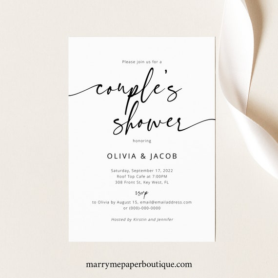 Couples Shower Invitation Template, Modern Calligraphy, Couples Shower Invite, Printable, Editable, Minimalist, Templett INSTANT Download