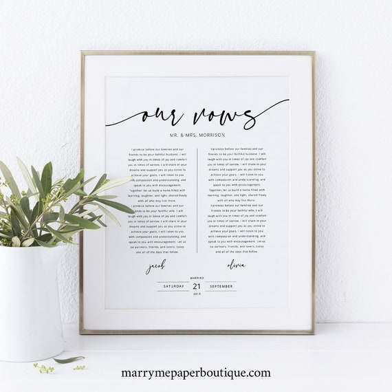 Wedding Vows First Anniversary Gift Template, Wedding Vows Wall Art Printable, Templett Instant Download, Try Before Purchase