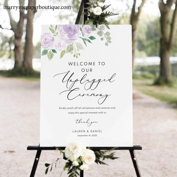 Unplugged Ceremony Sign Template, Lilac Floral, TRY BEFORE You BUY, Editable Instant Download