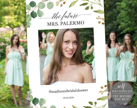 Greenery Wedding Printable Photo Booth Prop Template, Wedding Selfie, Bridal Shower Photo Booth Frame Template, Instant Download