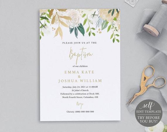 Baptism Invitation Template, White & Gold Floral, TRY BEFORE You BUY, 100% Editable Instant Download