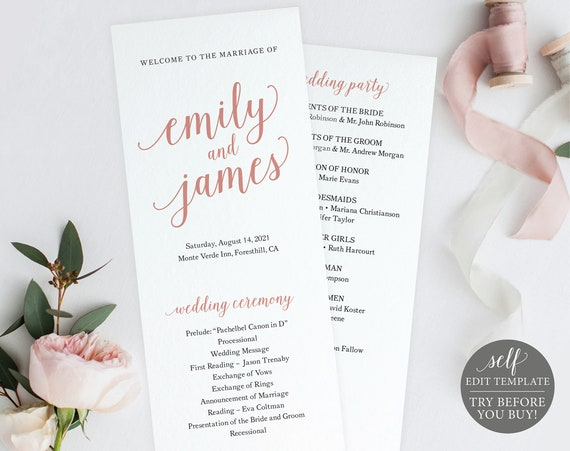Wedding Program Template, Rose Gold Script, TRY BEFORE You BUY, 100% Editable Instant Download