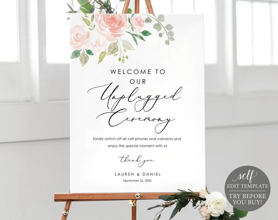 Unplugged Ceremony Sign Template, Pink Floral, TRY BEFORE You BUY, 100% Editable Instant Download