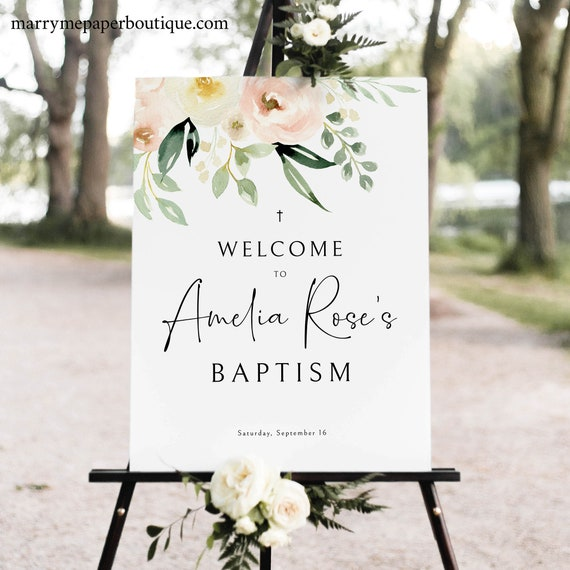 Baptism Welcome Sign Template, Templett Instant Download, Try Before Purchase, Pink Floral Greenery Ivory, Printable Sign