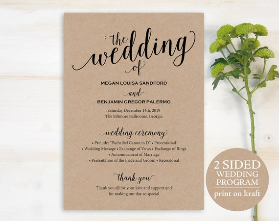 Wedding Program Template Rustic Wedding Program Printable Etsy
