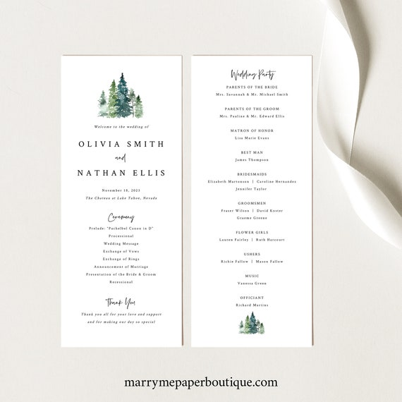 Pine Tree Wedding Program Template, Rustic Pine Forest, Editable Program, Printable, Templett, INSTANT Download