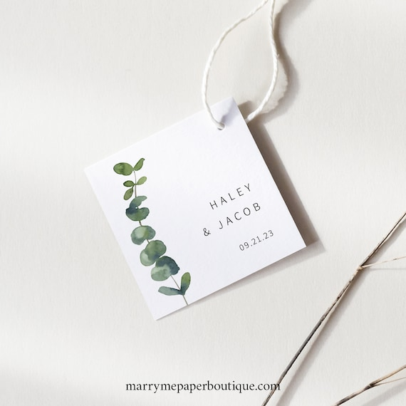Square Favor Tag Template, Elegant Eucalyptus, Printable Wedding Tag, Fully Editable, Greenery, Templett INSTANT Download