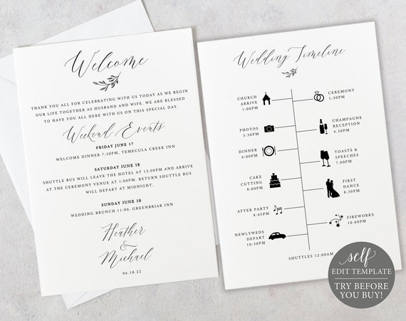 Wedding Timeline Card Template, Demo Available, Printable Editable Instant Download, Delicate Script