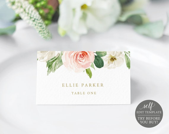 Place Card Template, TRY BEFORE You BUY, Editable Blush Floral Wedding Seating Card, Instant Download