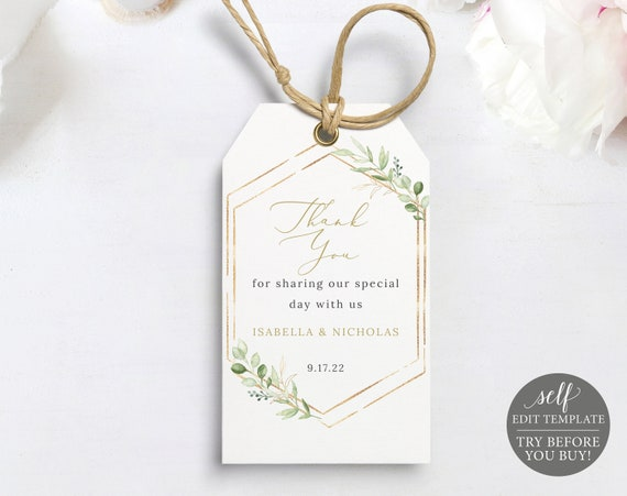 Favor Tag Template, Greenery Hexagonal, Editable & Printable Instant Download, Templett, TRY BEFORE You Buy