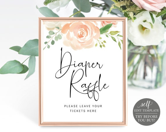 Diaper Raffle Sign & Ticket Templates, Peach Floral, TRY BEFORE You BUY, Editable Instant Download