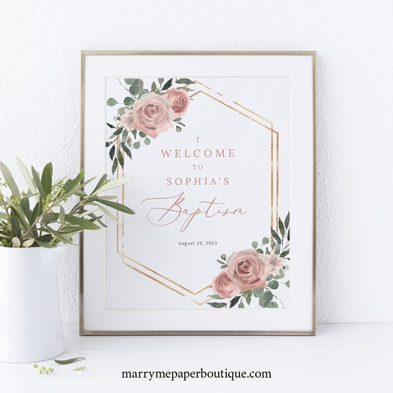 Baptism Welcome Sign Template, Dusky Pink Floral, Baptism Table Sign, 8x10, Printable, Editable, Dusty Pink, Templett INSTANT Download