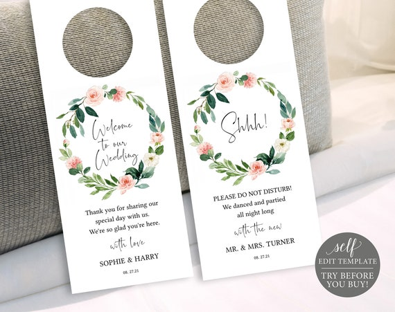 Door Hanger Template, TRY BEFORE You BUY, Editable Instant Download, Floral Greenery