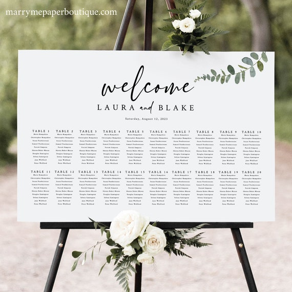 Wedding Seating Chart Template, Eucalyptus Greenery, Seating Plan, Editable Seating Sign, Printable Poster, Templett INSTANT Download