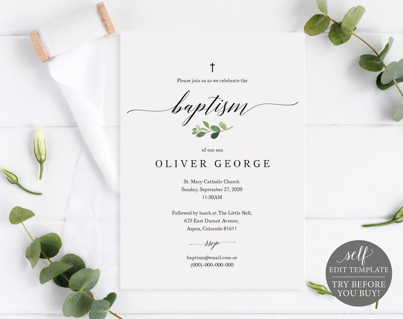 Printable Baptism Invitation Template Greenery Baptism Etsy