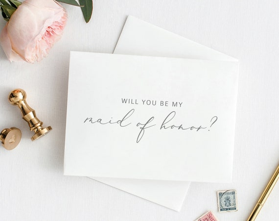 Will You Be My Maid of Honor Card, Printable Maid of Honor Template, Printable Card to Maid of Honor Template, PDF Instant Download MM08-1