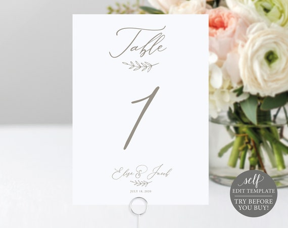 Wedding Table Number Template, TRY BEFORE You BUY, 100% Editable, Table Numbers Printable, Instant Download, Elegant Calligraphy