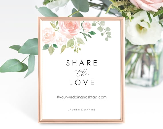 Floral Wedding Social Media Sign Template, Printable Share the Love Sign, Printable Wedding Hashtag Sign, PDF Instant Download, MM08-3