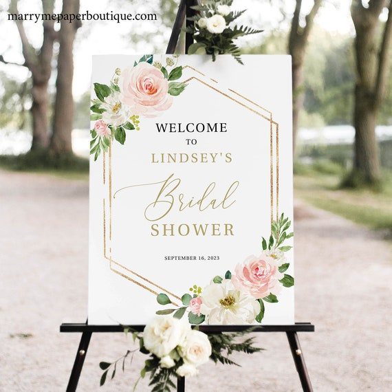 Bridal Shower Sign Template, TRY BEFORE You BUY, Editable Instant Download, Blush Floral Hexagonal