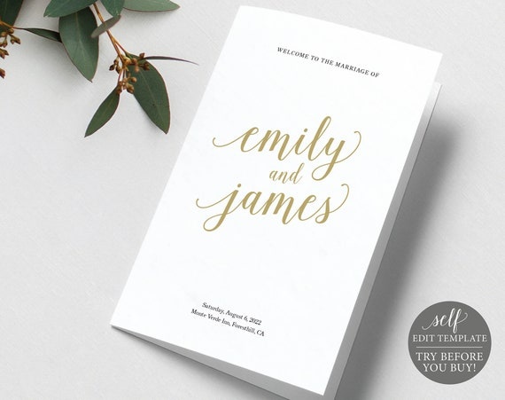 Wedding Program Template Fold, Modern Script Gold, Demo Available, Editable Printable Instant Download, Templett