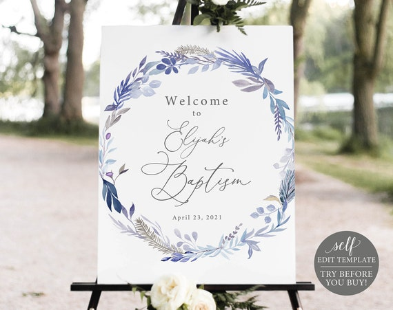Baptism Welcome Sign Template, Lavender Blue, Editable Printable Instant Download, Demo Available, Templett