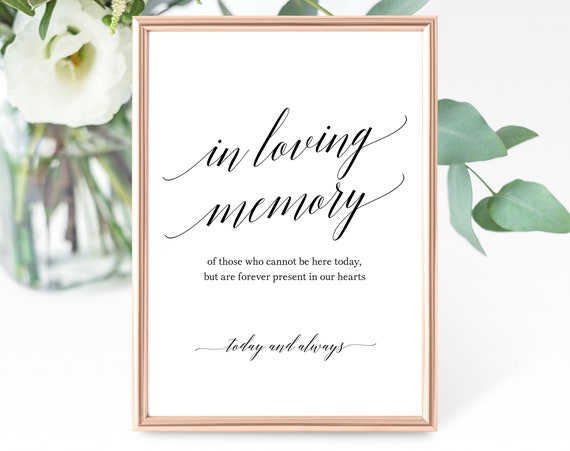 In Loving Memory Sign Template, Forever in Our Hearts, Wedding Memorial Sign, Printable In Loving Memory Sign, PDF Instant Download, MM07-1B