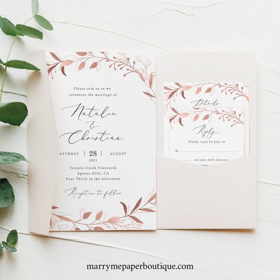 Wedding Invitation Template Set, Rose Gold Foliage, Editable & Printable, Instant Download, Try Before You Buy, Pocketfold Style