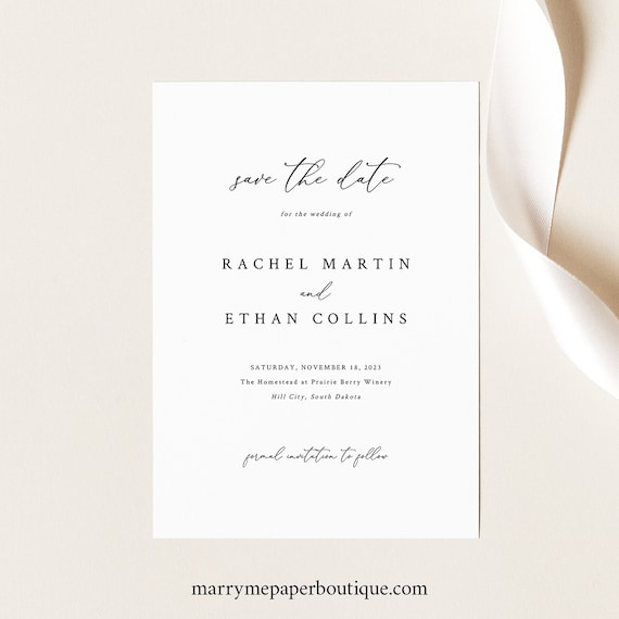 Save the Date Card Template, Elegant & Refined, Save Our Date, Printable, Templett, Editable, INSTANT Download