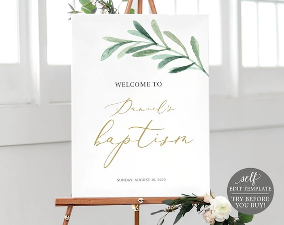Baptism Welcome Sign Template, TRY BEFORE You BUY, Editable Instant Download, Greenery Leaf