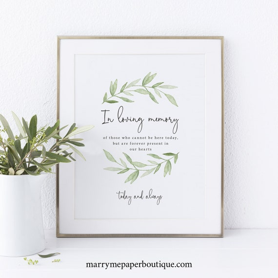 In Loving Memory Sign Template, Greenery Leaves, Instant Download, Non-Editable