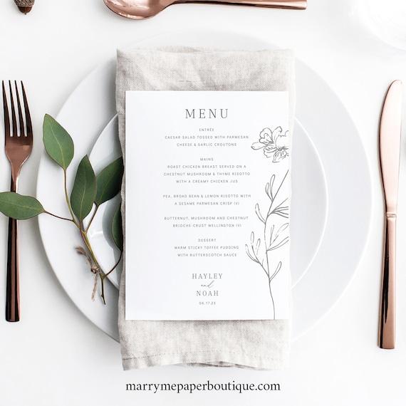 Wedding Menu Template 5x7, Elegant Botanical, TRY BEFORE You BUY,  Editable Instant Download