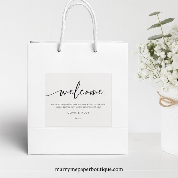 Welcome Bag Label Template, Modern Calligraphy, Wedding Guest Bag Label, Printable, Templett, INSTANT Download, Fully Editable