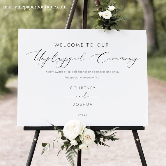 Unplugged Ceremony Sign Template, Elegant Script, Unplugged Wedding Sign, Printable, Templett INSTANT Download, Editable