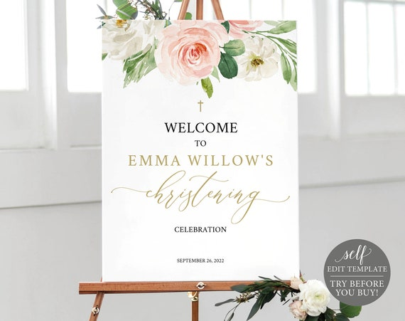 Christening Welcome Sign Template, Blush Floral, Printable & Editable Instant Download, Demo Available