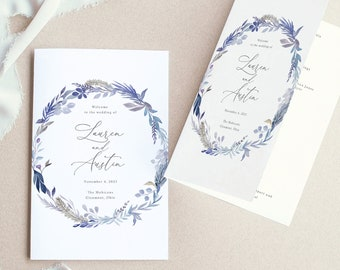 Wedding Program Template Folded, Editable Printable Instant Download, Demo Available, Blue Floral
