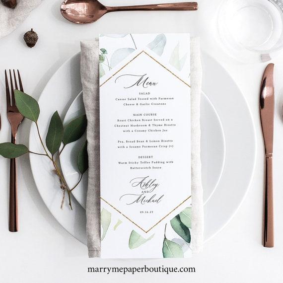 Classic Greenery Wedding Menu Template, Wedding Dinner Menu Printable, Fully Editable, Templett INSTANT Download