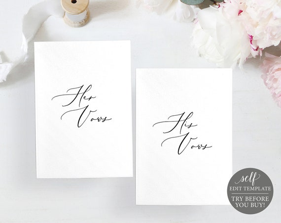His & Her Wedding Vow Cards Template, TRY BEFORE You BUY, 100% Editable Instant Download