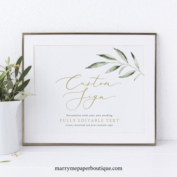 Wedding Sign Bundle Template Set, Olive Leaf Greenery, Printable Wedding Signs, Editable, Landscape, Templett INSTANT Download